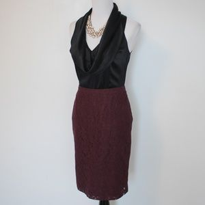 BANANA REPUBLIC Size 4 Maroon Black Skirt Blouse